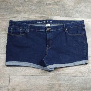Ava & Viv denim Midi shorts size 24 W
